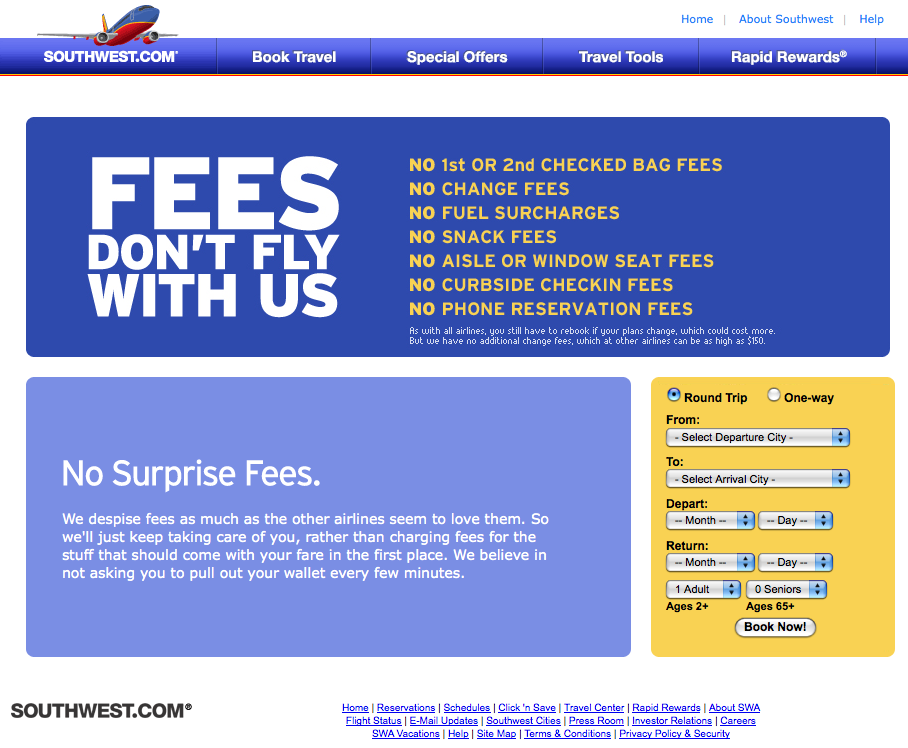 Southwest Airlines has a Rapid Rewards program where consumers collect points for excellent flight and travel incentives. They also promote Ding, where flight rate discounts and special offers are delivered online via laptop or iPhone.