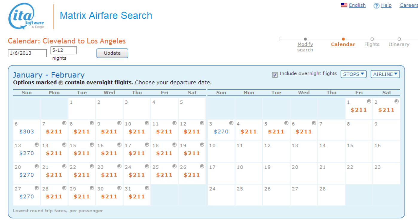 Search for travel deals by date