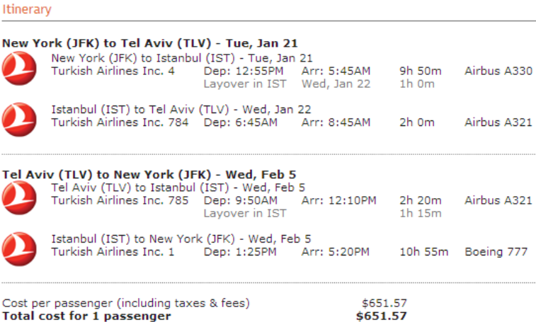 Turkish Jfk To Tel Aviv For 651 57 Round Trip With Tax